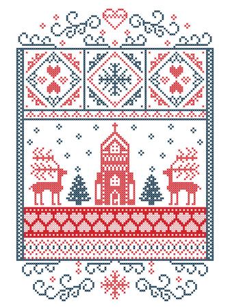 Elegant Merry Christmas Scandinavische, Scandinavische winterpatroon inclusief sneeuwvlok, hart, rendier, kerstboom, sneeuw, sneeuwvlok, kapel in winter wonderland landschap, in wit en rood, blauw