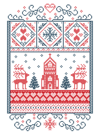 Elegant Merry Christmas Scandinavian, Nordic style winter pattern including snowflake, heart, reindeer, christmas tree, snow, snowflake, chapel in winter wonderland scenery,  in white and red, blue