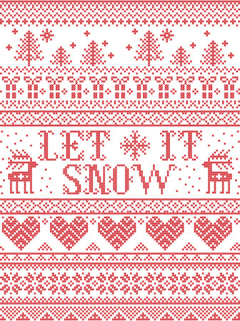 Seamless Let it Snow Scandinavian fabric style, inspired by Norwegian Christmas. Festive winter pattern in cross stitch with reindeer, Christmas tree, heart, snowflakes, snow, reindeer, ornaments.