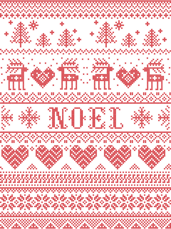 Seamless Noel Scandinavian fabric style, inspired by Norwegian Christmas. Festive winter pattern in cross stitch with reindeer, Christmas tree, heart, snowflakes, snow, decorative ornaments. Illustration