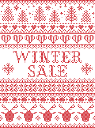 Seamless Winter Sale Scandinavian style, inspired by Norwegian Christmas. Festive winter pattern in cross stitch with reindeer, Christmas tree, heart, snowflakes, snow, ornaments. Illustration