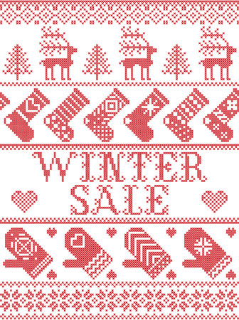 Seamless Winter Sale Scandinavian style, inspired by Norwegian Christmas, festive winter pattern in cross stitch with reindeer, Christmas tree, heart, snowflakes, mitten, stocking in red, white