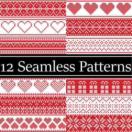12 Nordic style vector seamless Christmas  patterns  inspired by Scandinavian Christmas, festive winter in cross stitch with heart, snowflake, star,  snow, Christmas tree,  decorative ornaments in red Illustration