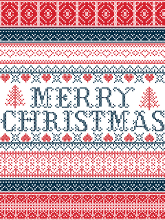 Merry Christmas Nordic style vector seamless Christmas  patterns  inspired by Scandinavian Christmas, festive winter in cross stitch with heart, snowflake, star,  snow, Christmas tree,   ornaments  イラスト・ベクター素材