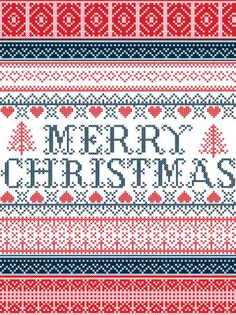 Joyeux Noël style nordique vecteur motifs de Noël sans couture inspirés du Noël scandinave, hiver festif au point de croix avec coeur, flocon de neige, étoile, neige, arbre de Noël, ornements Vecteurs