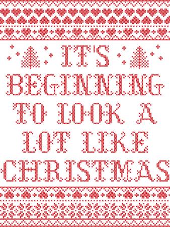 Son commencement à ressembler beaucoup au modèle sans couture de vecteur scandinave de Noël inspiré par l'hiver festif de culture nordique au point de croix avec coeur, flocon de neige, étoile, neige, arbre de Noël