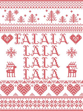Falalalalalalalala Christmas song Scandinavian seamless pattern. Illustration