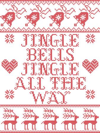 Jingle bells jingle bells Christmas song Scandinavian  seamless pattern
