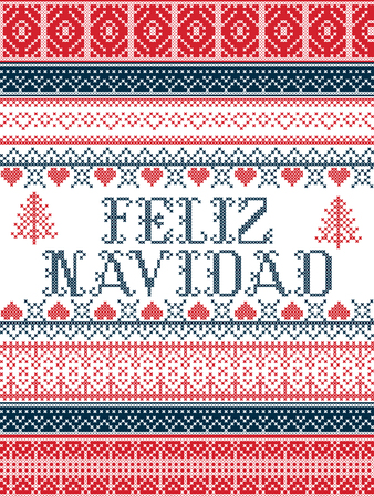 Feliz Navidad Nordic style Seamless Christmas  patterns  inspired by Scandinavian Christmas, festive winter in cross stitch with heart, snowflake, star,  snow, Christmas tree,   ornaments