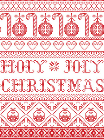 Christmas pattern Holy Joly Christmas seamless pattern inspired by nordic culture festive winter in cross stitch with heart, snowflake, bauble, christmas pudding, Christmas tree ornaments in red and white