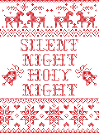 Christmas pattern Silent night Holy night vector seamless pattern inspired by Nordic culture festive winter in cross stitch with heart, snowflake, bell, reindeer, Christmas ornaments in red and white