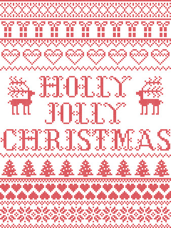 Christmas pattern Holly Jolly Christmas carol vector seamless pattern inspired by Nordic culture festive winter in cross stitch with heart, snowflake, snow , reindeer, Christmas ornaments , gift in red and white