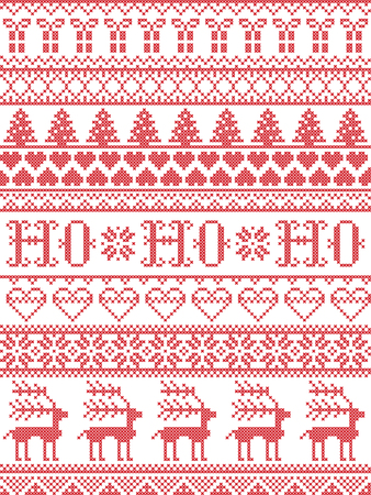 Christmas pattern HO HO HO carol vector seamless pattern inspired by Nordic culture festive winter in cross stitch with heart, snowflake, snow ,Christmas tree,  reindeer, Christmas ornaments , gift in red and white
