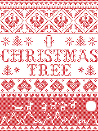 Christmas pattern O Christmas tree carol vector seamless pattern inspired by Nordic culture festive winter in cross stitch with heart, snowflake, snow ,Christmas tree,  reindeer, Christmas ornaments