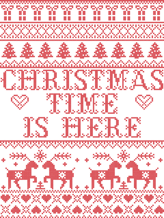 Christmas pattern Chritmas time is here  carol vector seamless pattern inspired by Nordic culture festive winter in cross stitch with heart, snowflake, snow ,Christmas tree,  reindeer, santa Ilustração