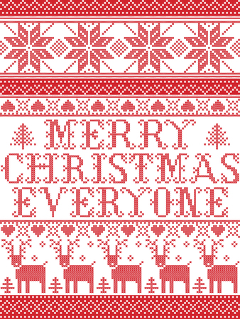 Christmas pattern Merry Christmas everyone  carol vector seamless pattern inspired by Nordic culture festive winter in cross stitch with heart, snowflake, snow ,Christmas tree,  reindeer, santa Ilustração