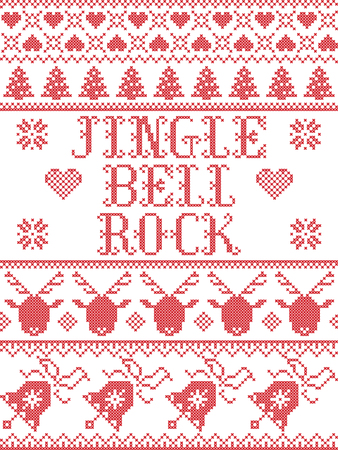 Christmas pattern Jingle bell rock carol vector seamless pattern inspired by Nordic culture festive winter in cross stitch with heart, snowflake, snow ,Christmas tree,  reindeer, Christmas ornaments Ilustração