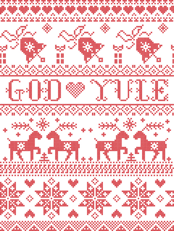Christmas pattern Merry Christmas in Norwegian God Yule vector seamless pattern inspired by Nordic culture festive winter in cross stitch with heart, snowflake, snow ,Christmas tree,  reindeer, bells in white and red