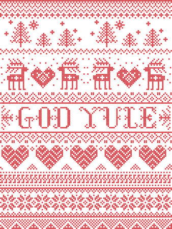 Christmas pattern Merry Christmas in Norwegian God Yule vector seamless pattern inspired by Nordic culture festive winter in cross stitch with heart, snowflake, snow ,Christmas tree,  reindeer in white and red Ilustração