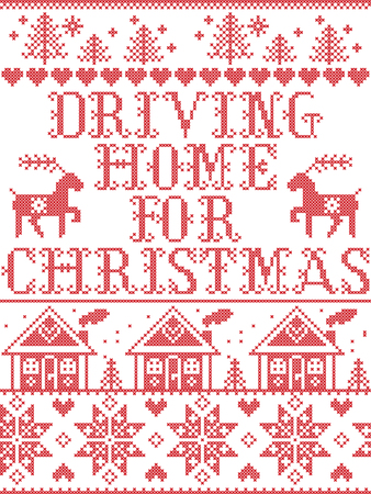 Christmas pattern Driving home for Christmas carol vector seamless pattern inspired by Nordic culture festive winter in cross stitch with heart, snowflake, snow ,Christmas tree,  reindeer, Christmas ornaments Ilustração