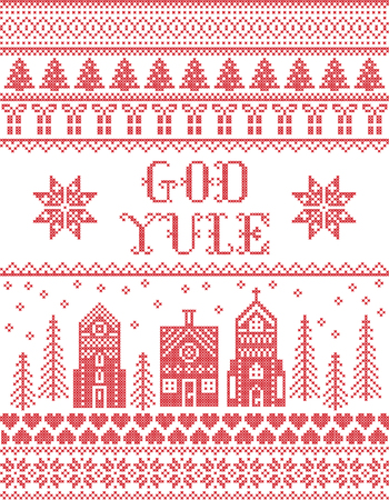 Christmas pattern with winter wonderland village  God Yule vector seamless pattern inspired by Nordic culture festive winter in cross stitch with heart, snowflake, snow ,Christmas tree,  church in red