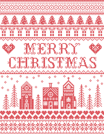 Christmas pattern with winter wonderland village  Merry Christmas vector seamless pattern inspired by Nordic culture festive winter in cross stitch with heart, snowflake, snow ,Christmas tree,  church in red
