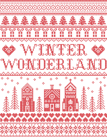 Christmas pattern with Winter Wonderland village  vector seamless pattern inspired by Nordic culture festive winter in cross stitch with heart, snowflake, snow ,Christmas tree,  church in red