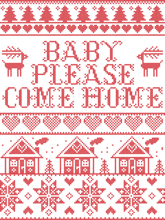 Christmas pattern Baby please come home carol vector seamless pattern inspired by Nordic culture festive winter in cross stitch with heart, snowflake, snow ,Christmas tree, reindeer, gingerbread house  イラスト・ベクター素材