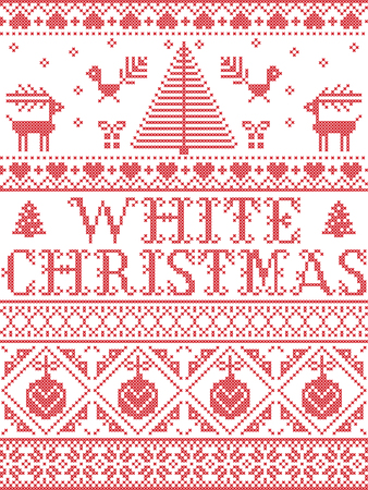 Christmas pattern White Christmas carol vector seamless pattern inspired by Nordic culture festive winter in cross stitch with heart, snowflake, snow ,Christmas tree, reindeer, in red and white Ilustração