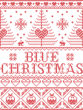 Christmas pattern Blue Christmas carol vector seamless pattern inspired by Nordic culture festive winter in cross stitch with heart, snowflake, snow ,Christmas tree, reindeer, in red and white
