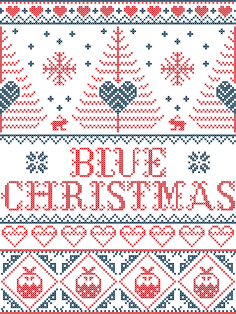 Christmas pattern Blue Christmas carol vector seamless pattern inspired by Nordic culture festive winter in cross stitch with heart, snowflake, snow ,Christmas tree, reindeer, in red, blue and white