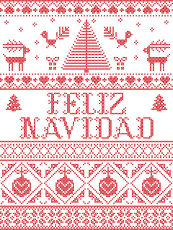 Christmas pattern Feliz Navidad  vector seamless pattern inspired by Nordic culture festive winter in cross stitch with heart, snowflake, snow ,Christmas tree, reindeer, Robin bird in red and white Illustration