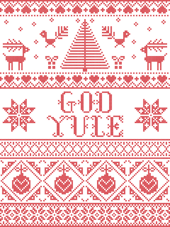 Christmas pattern God Yule  vector seamless pattern inspired by Nordic culture festive winter in cross stitch with heart, snowflake, snow ,Christmas tree, reindeer, Robin bird in red and white Ilustração