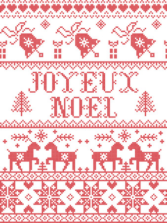 Christmas pattern Joyeux Noel  vector seamless pattern inspired by Nordic culture festive winter in cross stitch with heart, snowflake, snow ,Christmas tree, reindeer, Robin bird in red and white