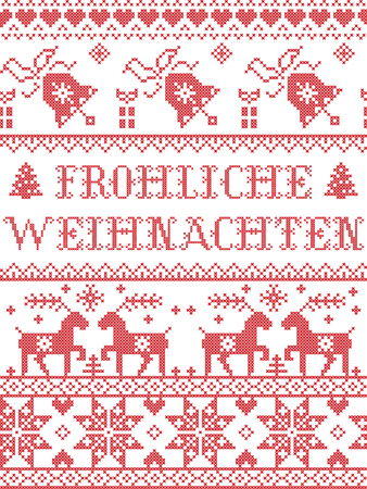 Christmas pattern Frohliche weihnachten  vector seamless pattern inspired by Nordic culture festive winter in cross stitch with heart, snowflake, snow ,Christmas tree, reindeer, Robin bird in red and white Ilustração