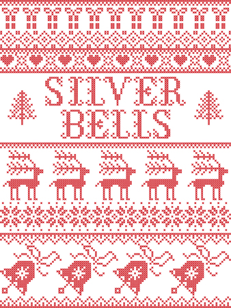 Christmas pattern Silver bells  carol vector seamless pattern inspired by Nordic culture festive winter in cross stitch with heart, snowflake, snow ,Christmas tree,  reindeer, present, ornaments