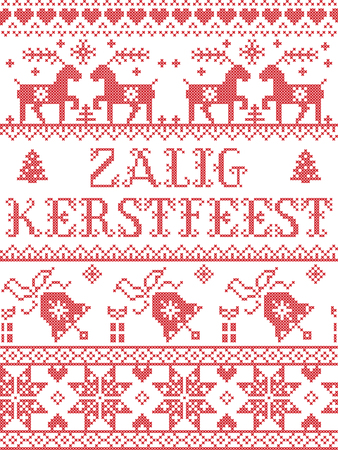 Christmas pattern dutch Zalig Kerstfeest vector seamless pattern inspired by Nordic culture festive winter in cross stitch with heart, snowflake, snow ,Christmas tree,  reindeer, present, ornaments