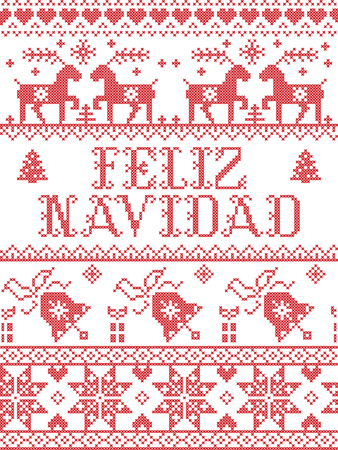 Christmas pattern spanish Feliz Navidad vector seamless pattern inspired by Nordic culture festive winter in cross stitch with heart, snowflake, snow ,Christmas tree,  reindeer, present, ornaments
