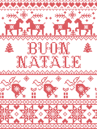 Christmas pattern Italian Merry Christmas Buon Natale vector seamless pattern inspired by Nordic culture festive winter in cross stitch with heart, snowflake, snow ,Christmas tree,  reindeer, present,