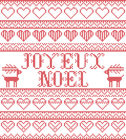 Christmas pattern French Merry Christmas  Joyeux Noel  vector seamless pattern inspired by Nordic culture festive winter in cross stitch with hearts, reindeer  in red and white 向量圖像