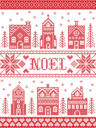 Vector Christmas village pattern Noel inspired by Nordic culture festive winter in cross stitch with hearts, reindeer, decorative ornaments, snowflake, church, chapel, house in red, white cross stitch