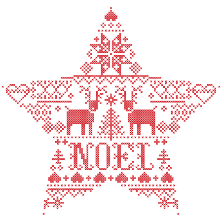 Vector Christmas  pattern Noel inspired by  festive, winter Nordic culture in cross stitch with hearts, reindeer, decorative ornaments, snowflake, christmas tree, snowflakes, snow  in star shape 向量圖像
