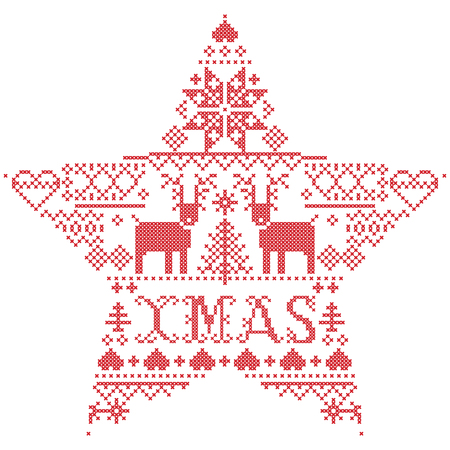 Vector Christmas  pattern Xmas inspired by  festive, winter Nordic culture in cross stitch with hearts, reindeer, decorative ornaments, snowflake, christmas tree, snowflakes, snow  in star shape