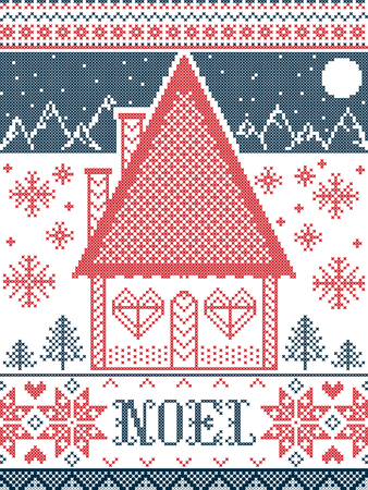 Noel Christmas pattern with winter wonderland village , seamless pattern elements inspired by Nordic festive winter in cross stitch with gingerbread house, mountains, heart, snowflake, snow, tree
