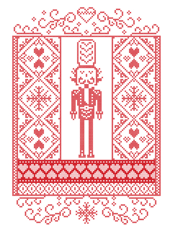 Elegant Vector Scandinavian Christmas Pattern  in Nordic style winter pattern including nutcracker soldier,  snowflake, heart, snow, snowflake, seamless ornaments  in cross stitch in white and red