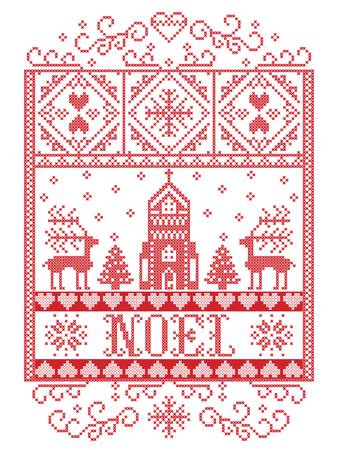 Elegant Vector Scandinavian Noel background, Nordic style Christmas  pattern including snowflake, heart, reindeer, Christmas tree, snow, snowflake, chapel in winter wonderland in white, red