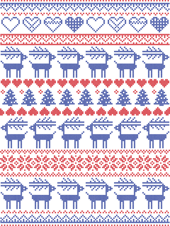 Christmas pattern inspired by Scandinavian cross stitch and  Nordic style winter stitching seamless decor including snowflakes, hearts,  snow, star, Christmas tree, reindeer, ornaments in red, blue