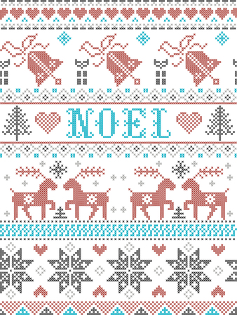 Christmas Pattern Noel Scandinavian style, inspired by Norwegian festive winter culture,  seamless,  in cross stitch with reindeer, Christmas tree, heart, gifts,  bell, stars, snow in gray, blue, red