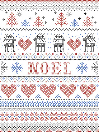 Christmas Pattern Noel Scandinavian style, inspired by Norwegian festive winter culture,  seamless,  in cross stitch with reindeer, Christmas tree, heart, gifts,  snowflakes,  stars, snow in gray, blue, red 向量圖像