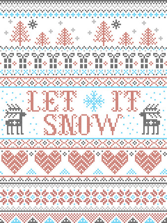 Seamless Christmas pattern Let it Snow Scandinavian  style, inspired by Norwegian Christmas, festive winter  in cross stitch with reindeer, Christmas tree, heart, snowflakes, snow, gifts, ornaments